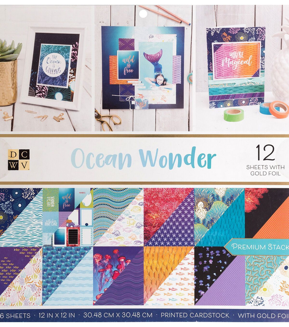 American Crafts Card Stock 12X 12 Beach House Premium Printed Cardstock Stack