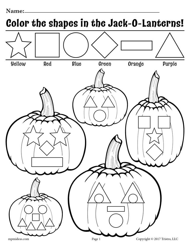 FREE Printable JackOLantern Shapes Coloring Pages