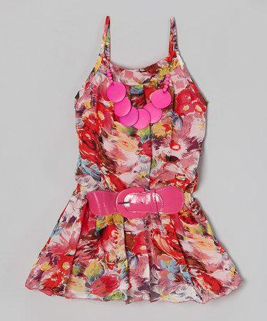 Look what I found on #zulily! Pink Rose Chiffon Belted Dress - Girls #zulilyfinds