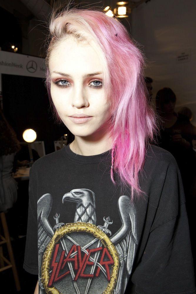 90s Grunge Pastel Pink Hair Side Cut Pale Grunge