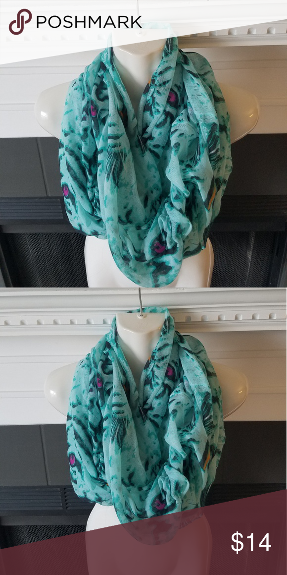 5b9b3a77fc136 Green Infinity Scarf Green with specks of pink infinity scarf is completely  circular with no ends. Accessories Scarves & Wraps