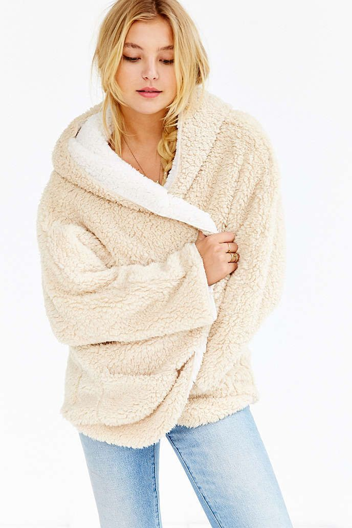 Urban Outfitters Ecote Fuzzy Reversible Jacket in 2019