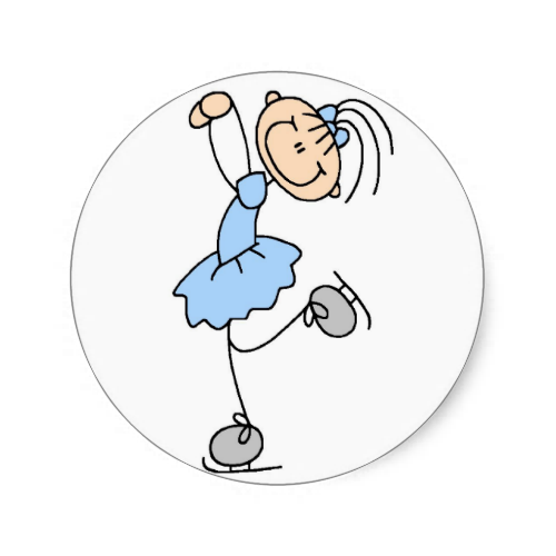 Girl In Blue Ice Skater Sticker