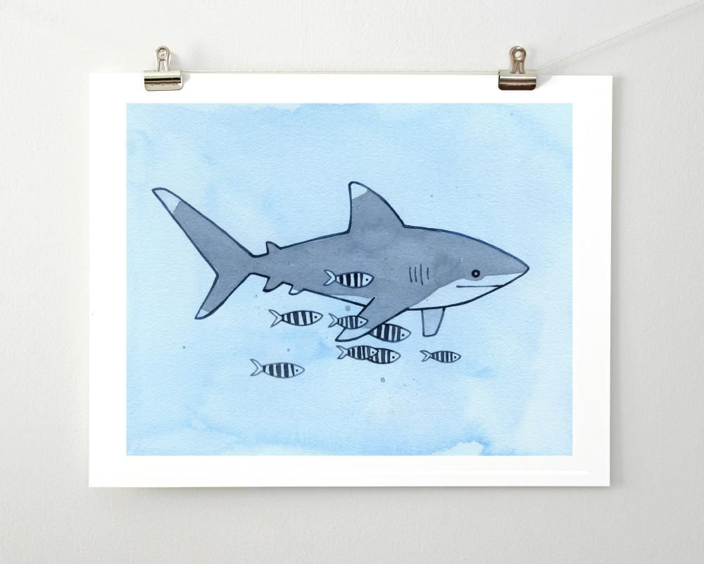 Draw Sharks Whitetip Shark And Pilotfish Art Print Oceanic Whitetip Shark And Pilotfish Fine Art Print From Watercolor Signed And Dated 5x7 An Art Art Prints