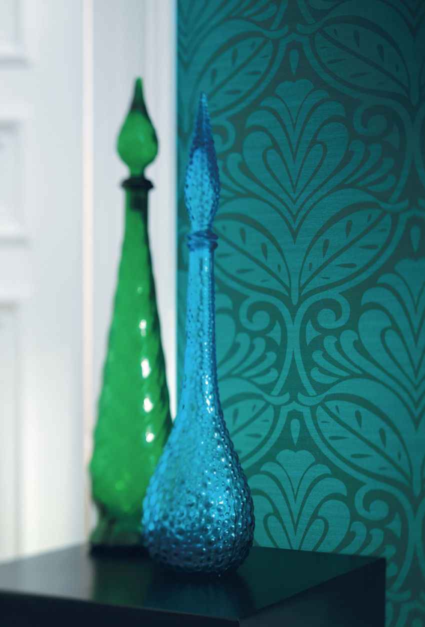Papier peint bleu canard en 2019 papier peint bleu papier peint bleu canard et papier peint - Idee tapisserie chambre ...