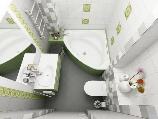 badezimmer gestaltungsideen kleine bäder eckbadewanne grau grün
