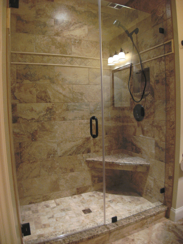 Floating corner seat and frameless shower door   Bathrooms ...