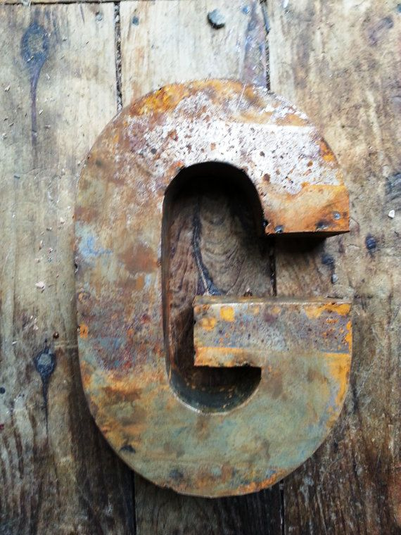 Rusted Metal Letter G Crafted From Recycled Tin By