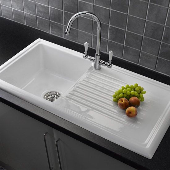 White Ceramic Kitchen Sink | Kitchen | Pinterest | Mixer taps, White ...
