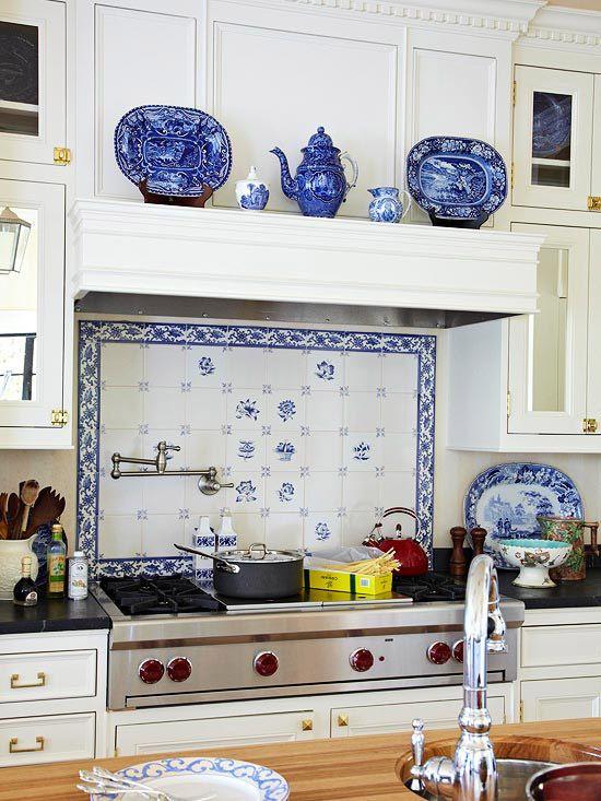 blue white kitchens white tile backsplash