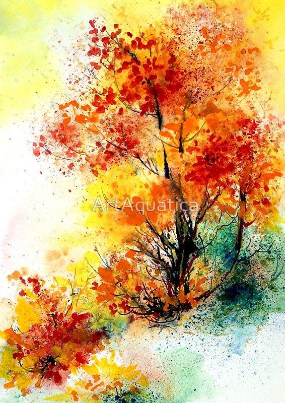 Autumn Tree Watercolor Painting Tree Watercolor Painting Tree Painting Nature Art Painting