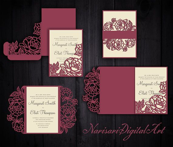 Peonies set cricut wedding invitation template gate fold for Pocket wedding invitations cricut