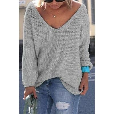 99383cc38253 SUOGRY 2018 Autumn Womens Cute Elegant V Neck Loose Casual Knit Sweater  Pullover Long Sleeve Spring Sweater Tops Sueter Mujer
