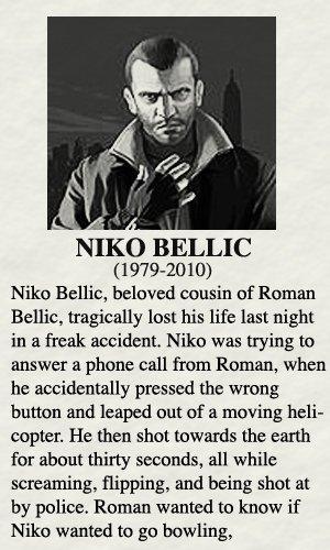 RIP Niko Bellic | Gta funny, Niko, Gamer humor