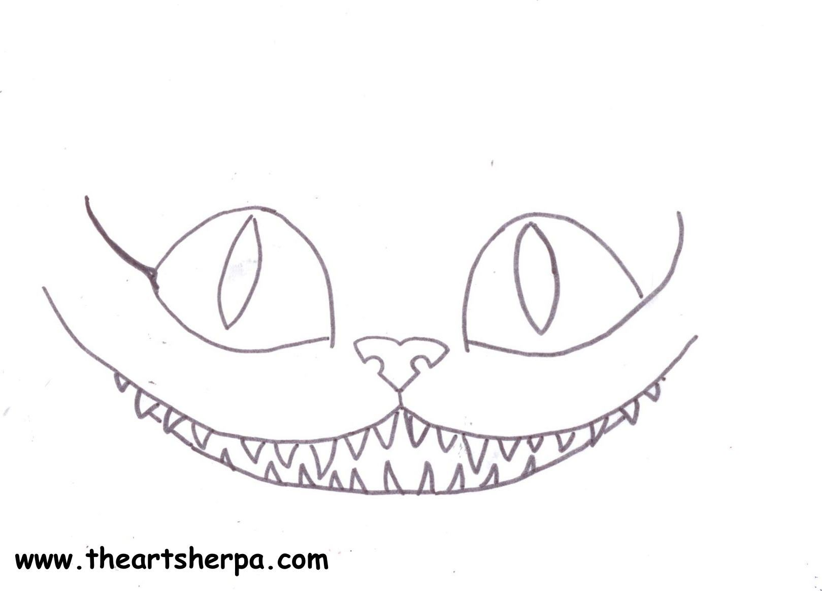 Cheshire cat face traceable for Youtube tutorial With The