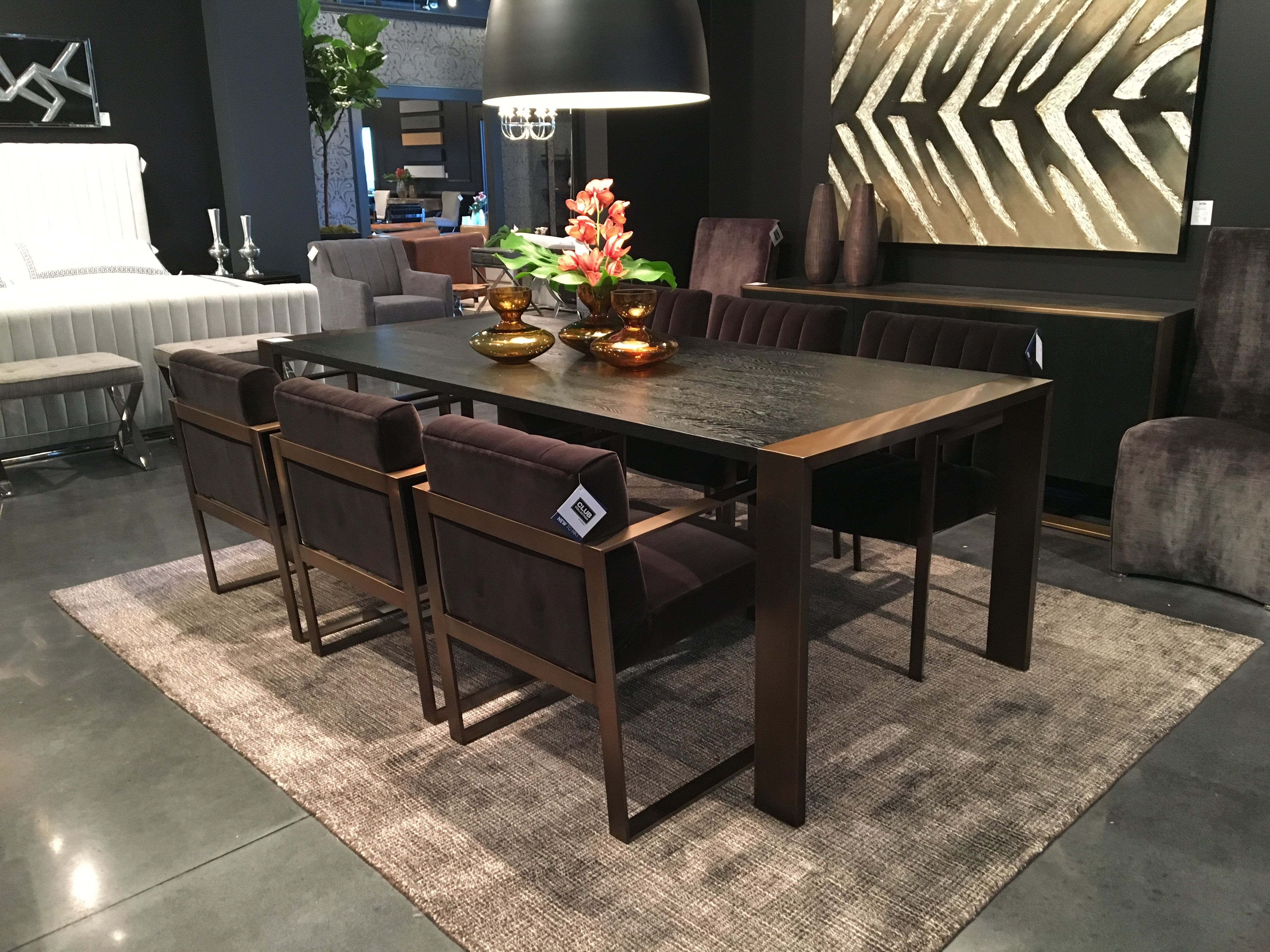Dalton Dining Table With Brushed Yellow Gold Hpmkt