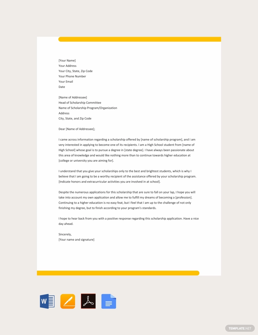 College Scholarship Application Letter Template Free Pdf Google Docs Word Template Net Scholarships For College College Acceptance Letter Application Letters