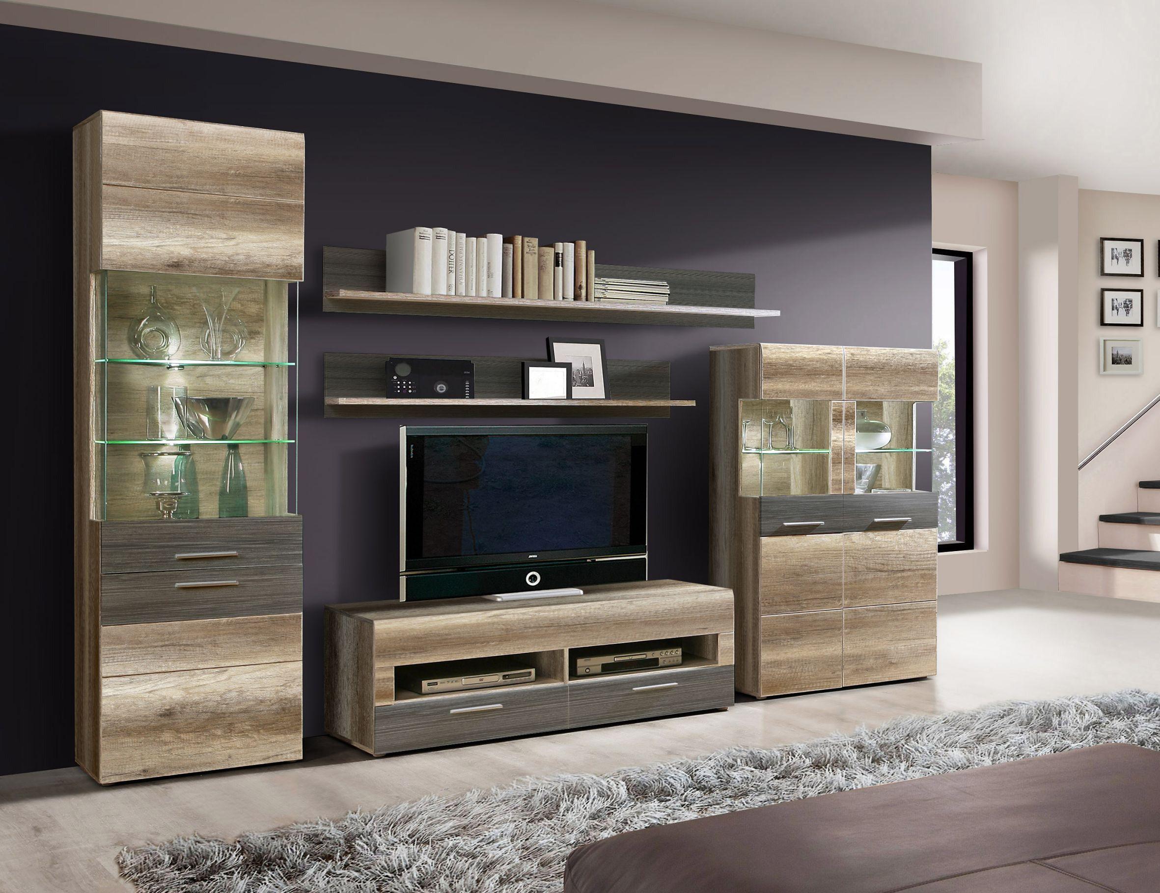 Wohnzimmer fernsehwand ~ Wohnwand eiche antik touchwood woody 77 00491 glas modern jetzt