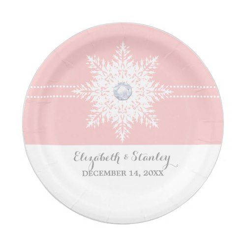 Modern snowflake pink white winter wedding paper plate  sc 1 st  Pinterest & Modern snowflake pink white winter wedding paper plate | Pink Blush ...