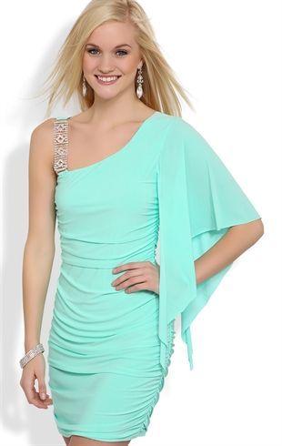 Deb Shops #Mint One Shoulder Flutter Sleeve Dress with Rhinestone Strap $26.94