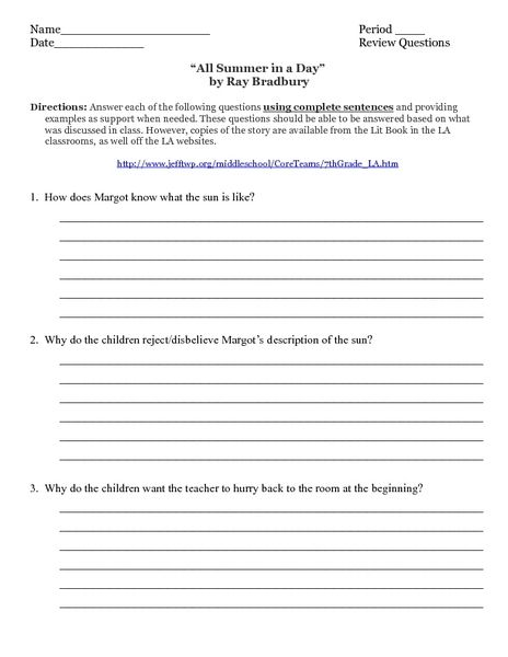 all summer in a day by ray bradbury worksheet lesson planet  ray bradbury essay all summer in a day essay questions essay for you