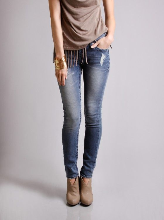 !iT Jeans Distressed Skinny Denim