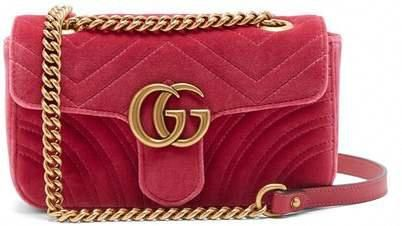26afa8287d9 Gucci - Gg Marmont Mini Quilted Velvet Cross Body Bag - Womens - Pink   Guccihandbags