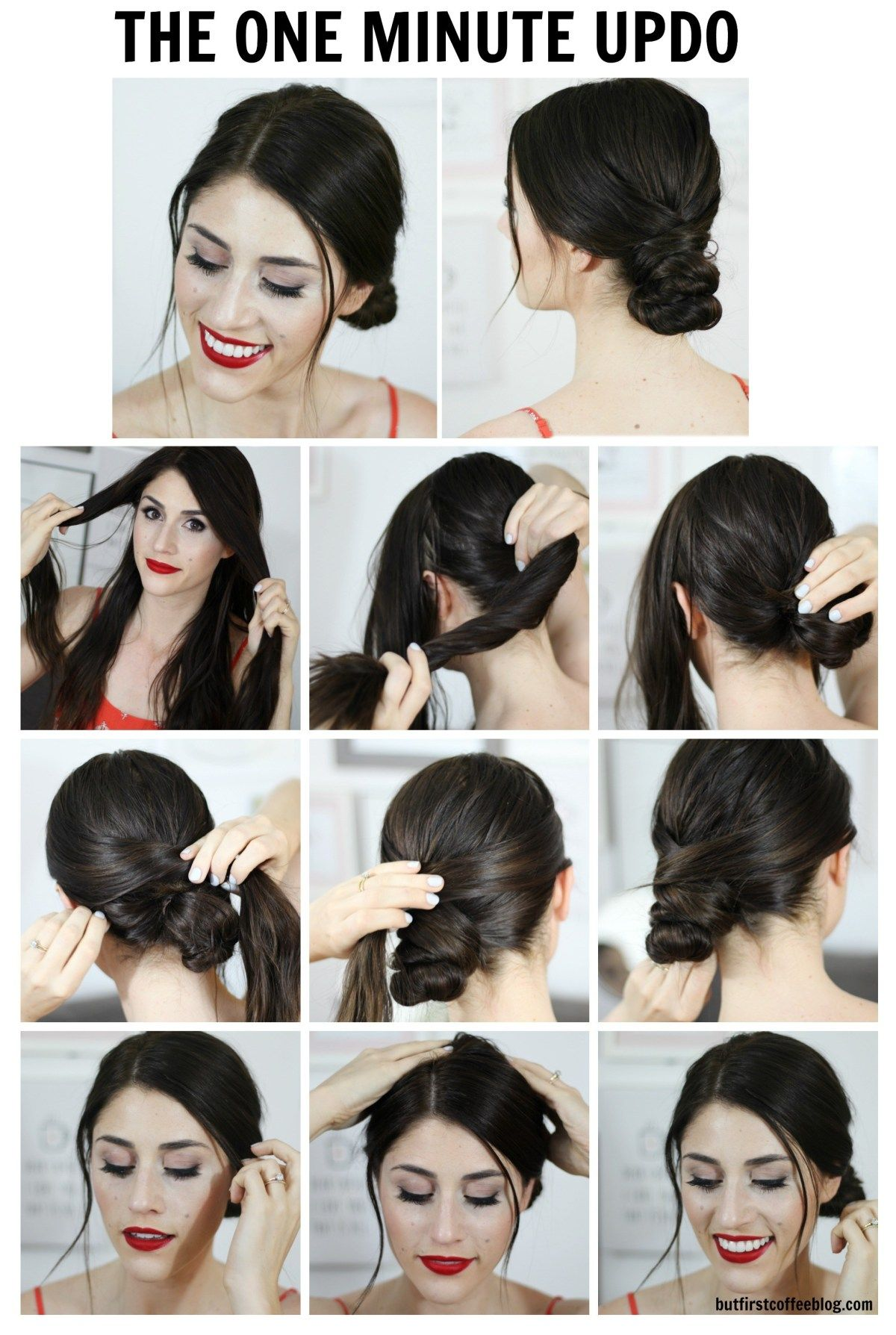 The One Minute Updo Super Simple Hairstyles Easy Hairstyles Short Hair Styles Easy Simple Updo Tutorial