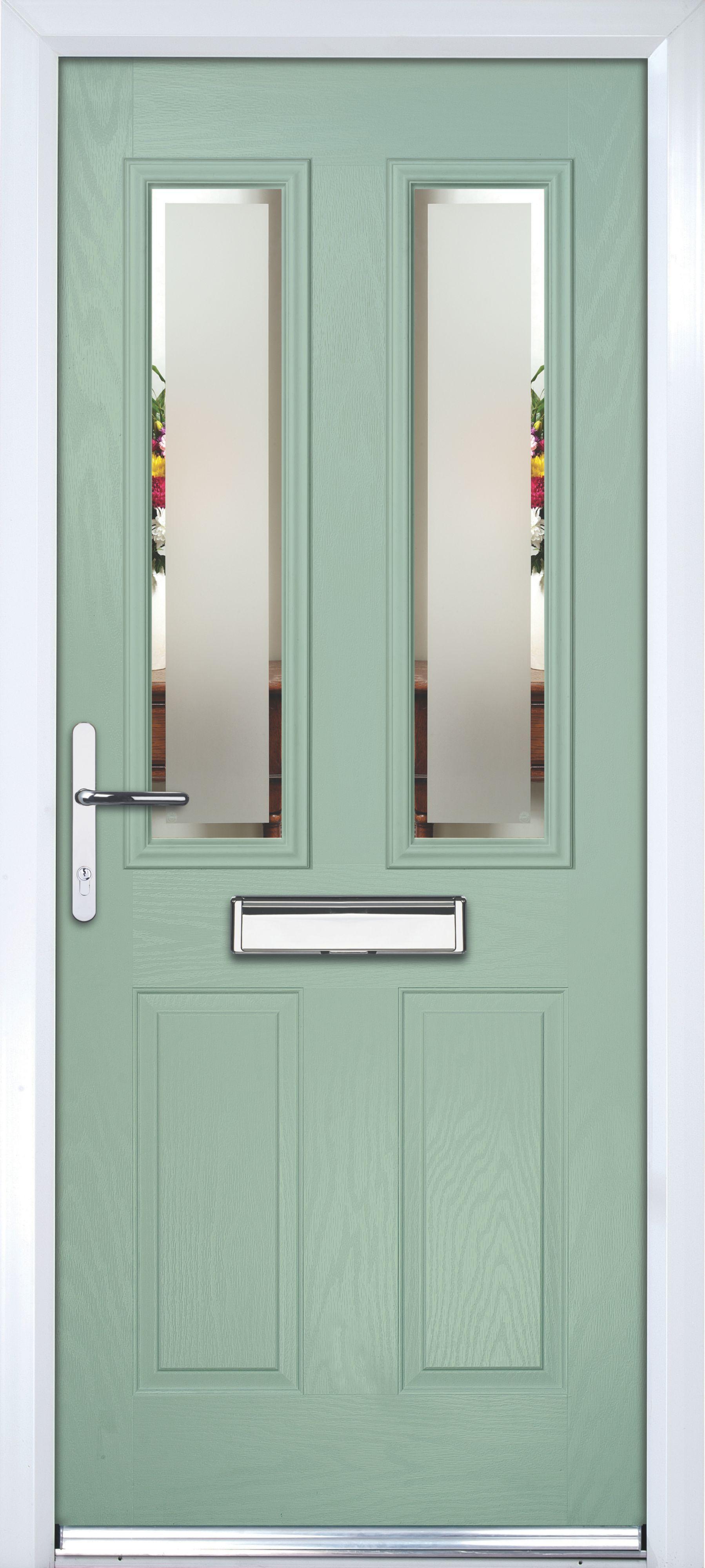 Composite Green PVCu & GRP Glazed External Front Door & Frame Rh, (H ...