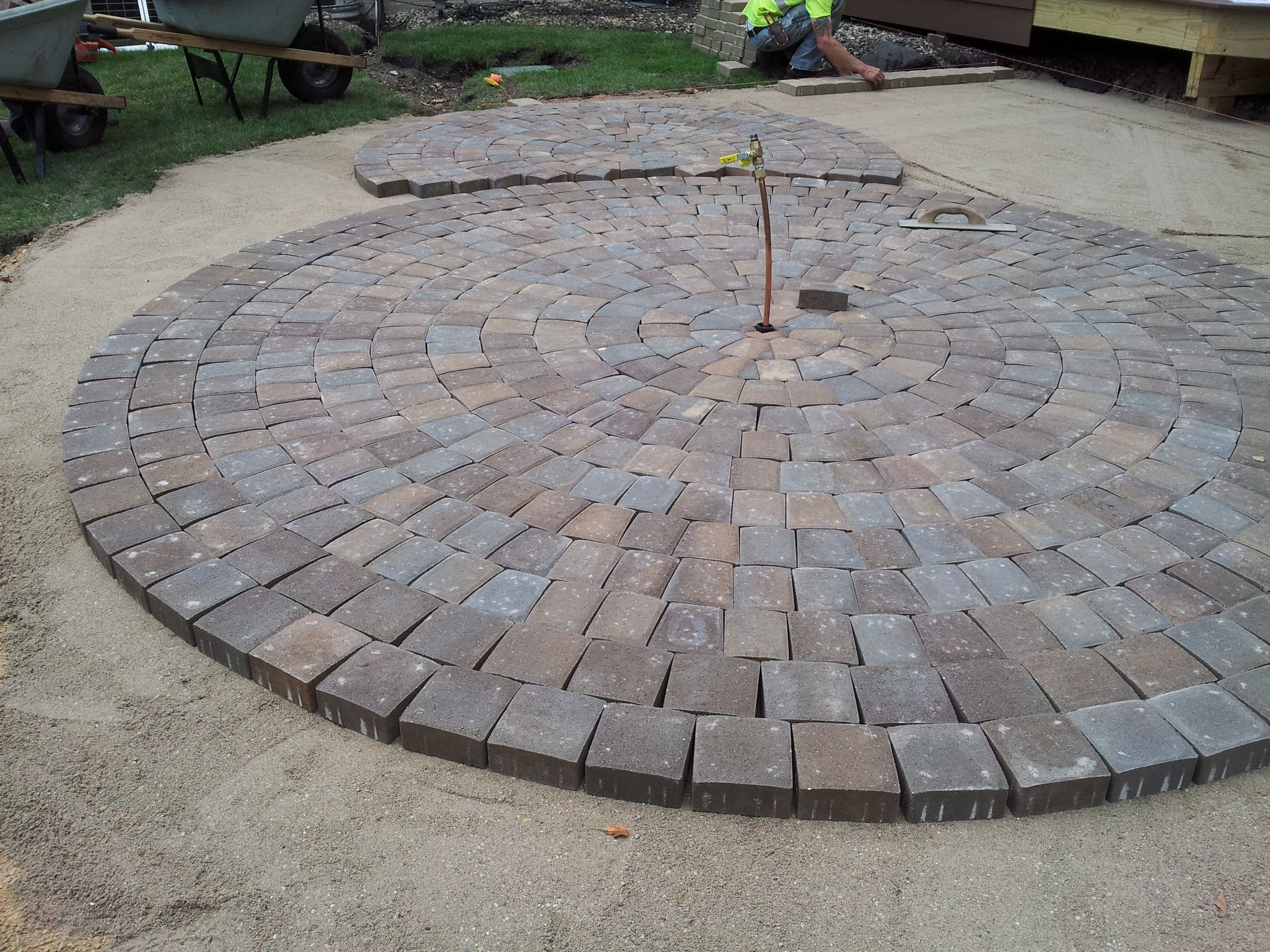 Mid Way Through The Circular #patio Construction Using Anchor Kingston  Pavers, Northwoods Color