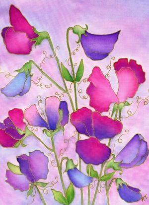Sweet peas webg pinterest silk painting silk sweet peas webg silk flowersart mightylinksfo