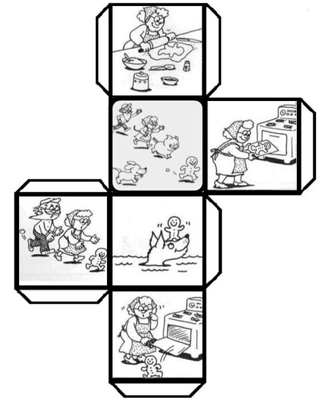 """Have students color, cut, fold, and paste to make a story cube that can be used to retell """"The Gingerbread Man"""" and talk about 3D shapes. (K.RL.2) (K.G.5) Leave a comment if you would like to see other story cubes. I had fun creating the template!  (Free pdf attached to easily print the template)"""