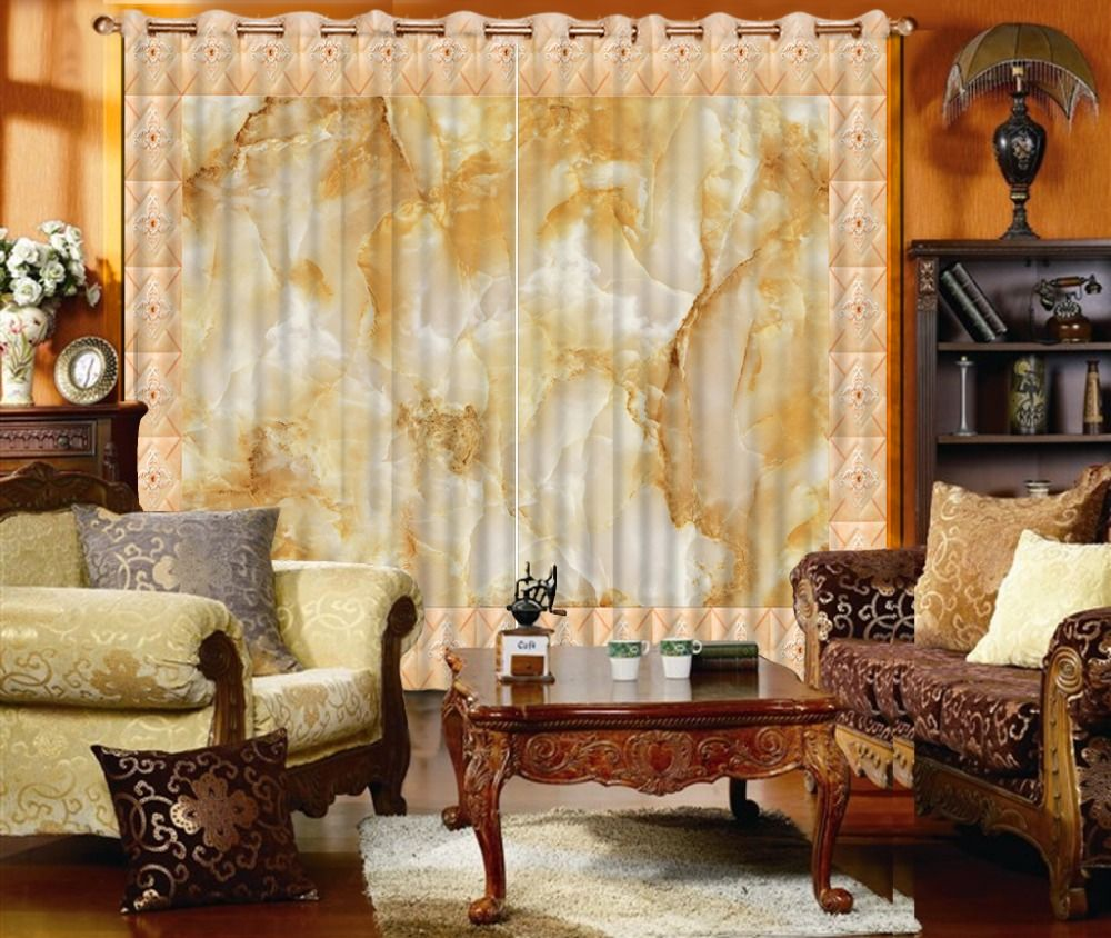 Europe style marble curtains for living room 3d curtains curtain ...