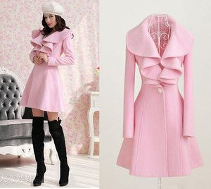 ladies pink trench coat | Fashion Womens Pink Wool Slim Jacket Coat Cashmere Parka Trench Parka ...