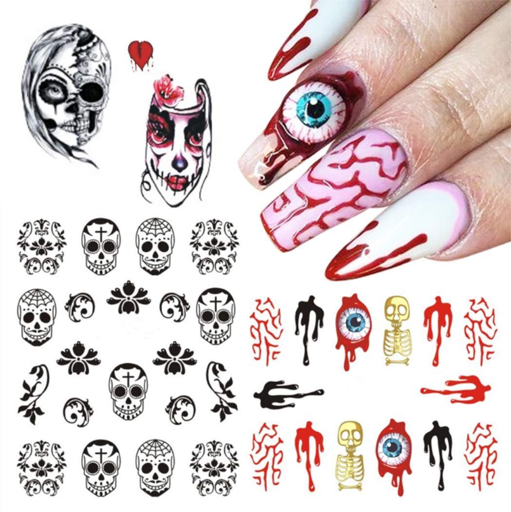 Nagelsticker Kapmore 25 Pcs Nail Art Nail Sticker Halloween Nail Sticker Set Kunst Aufk In 2020 With Images Halloween Nail Art Halloween Nail Art Easy Halloween Nail Art Tutorial
