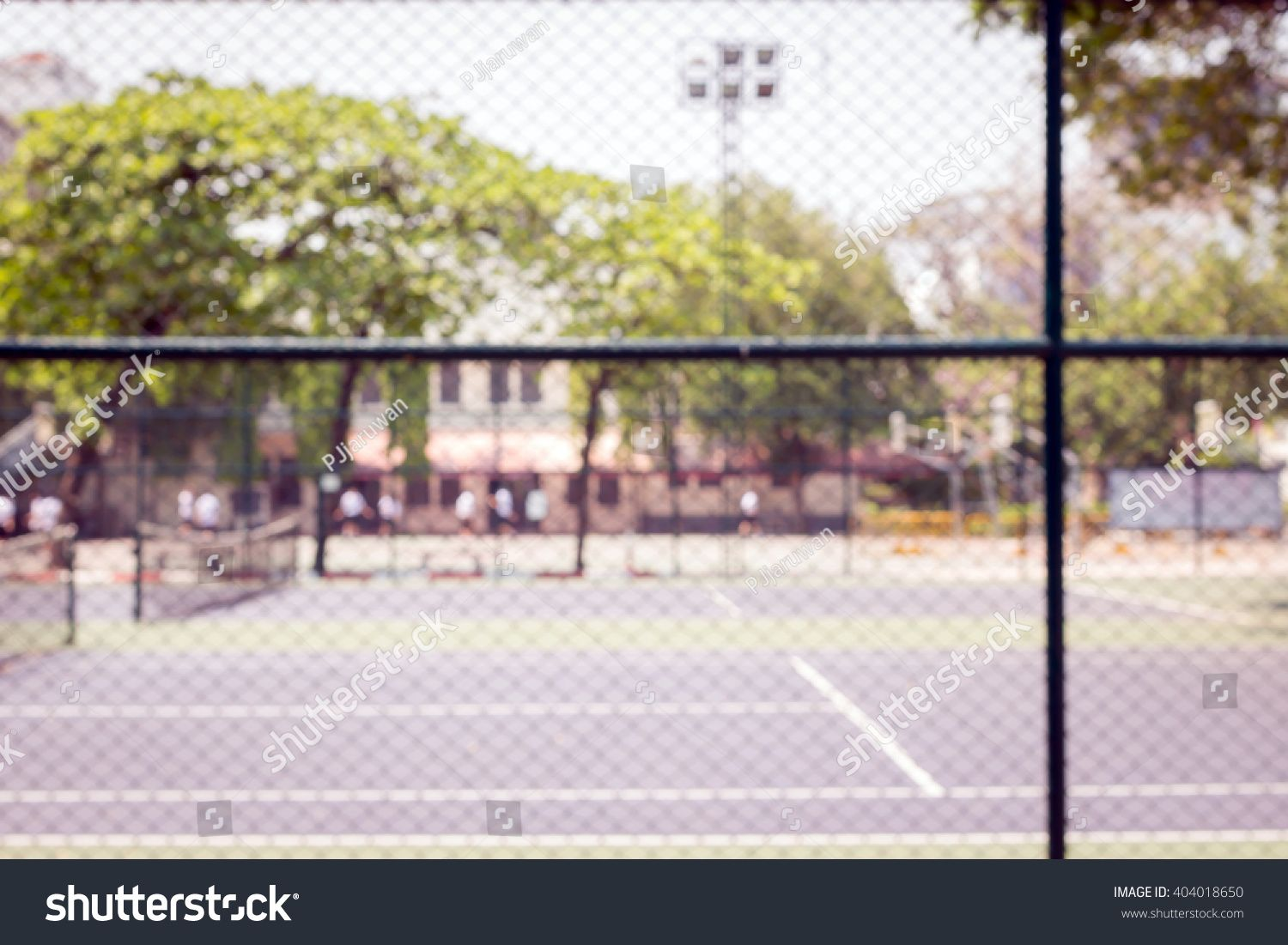 Defocused And Blurred Image For Background Of Tennis And Basketball Court Behind Fence Mesh Netting Ad Business Card Black Professional Business Cards Tennis
