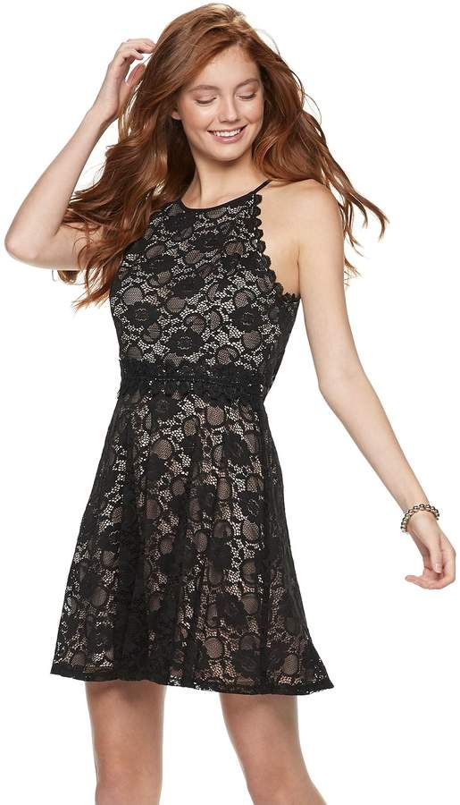 Juniors Lily Rose Floral Lace Skater Dress Products Skater