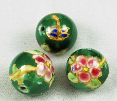 Vintage Green Floral Enamel Beads from Estatebeads.com