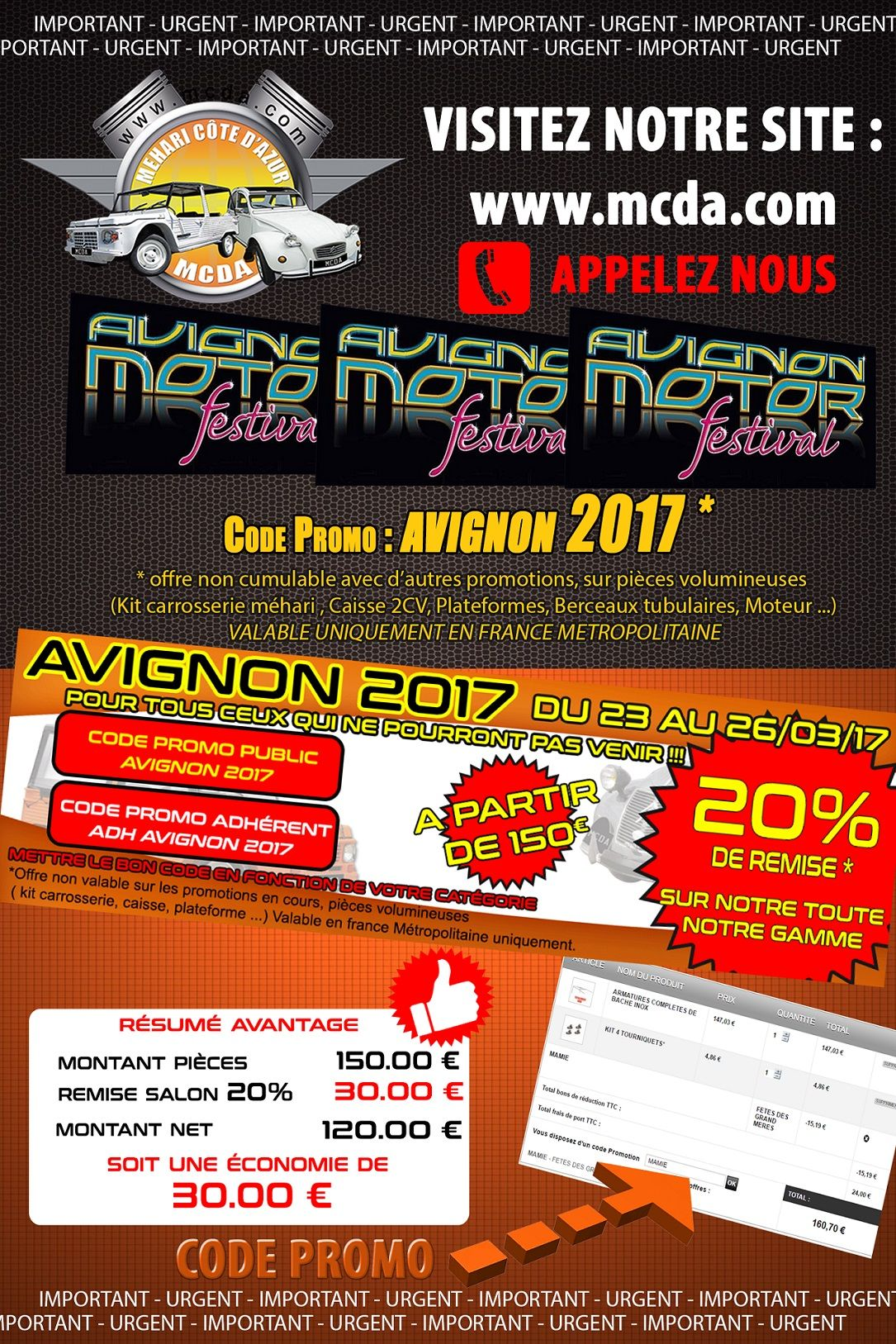 20 de r duction avec le code promo avignon 2017 sur toutes les pi ces 2cv mehari dyane. Black Bedroom Furniture Sets. Home Design Ideas