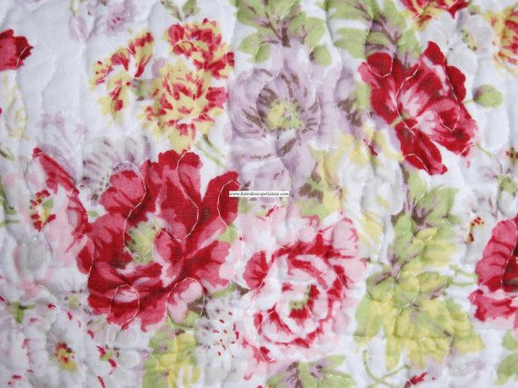 Laura Ashley Floral Cottage Quilt Shams Shabby Chic Bedding Lavender Yellow Green Pink Red