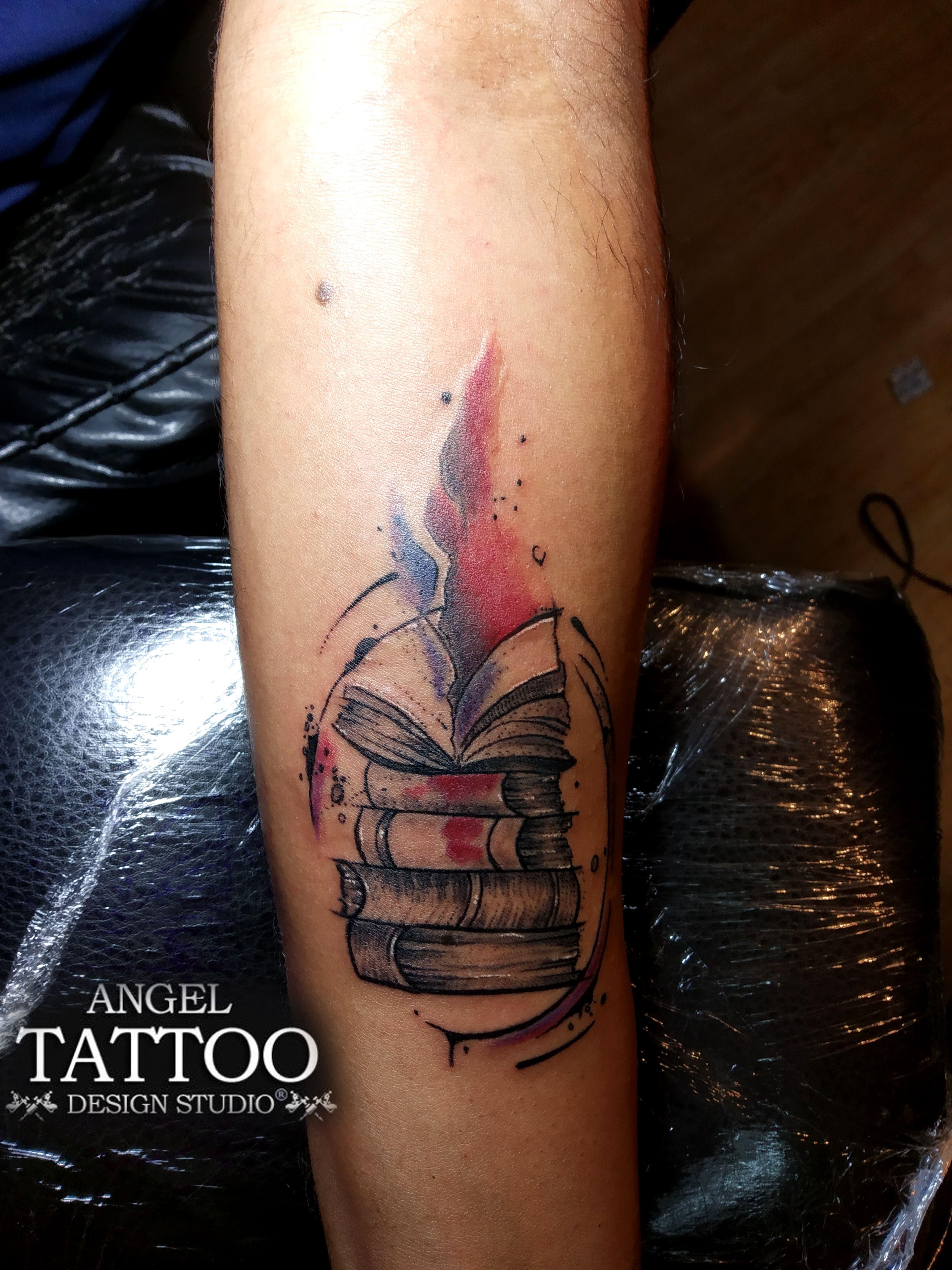 Books tattoo Angel tattoo designs, Tattoos, Book tattoo