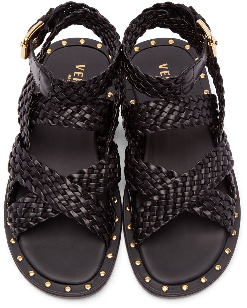 38f3da21447e2 Versace - Black Braided Leather Sandals