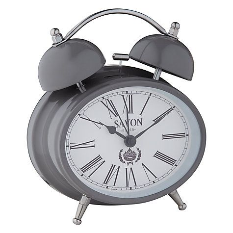 Buy London Clock Oval Twin Bell Alarm Grey Online At