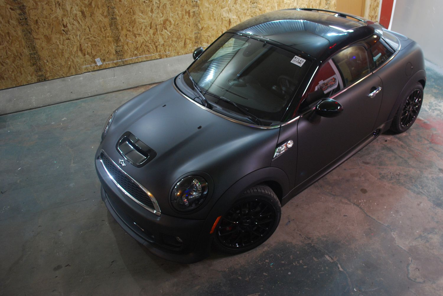 Matte Black Vehicle Wrap On A 2012 John Cooper Works Mini Coupe S By