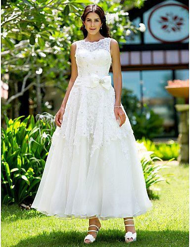 A-line Jewel Ankle-length Lace Wedding Dress - Enjoy Saving $20 on ...