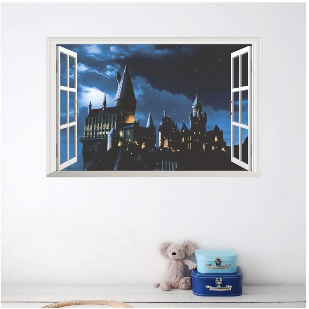 Kuke Wandtattoo 3d Hogwarts Schule Schloss Harry Potter Wandaufkleber Decke Fenster Abnehmbare Diy Wandstick Wandmalerei Wandsticker Kinderzimmer Wandaufkleber