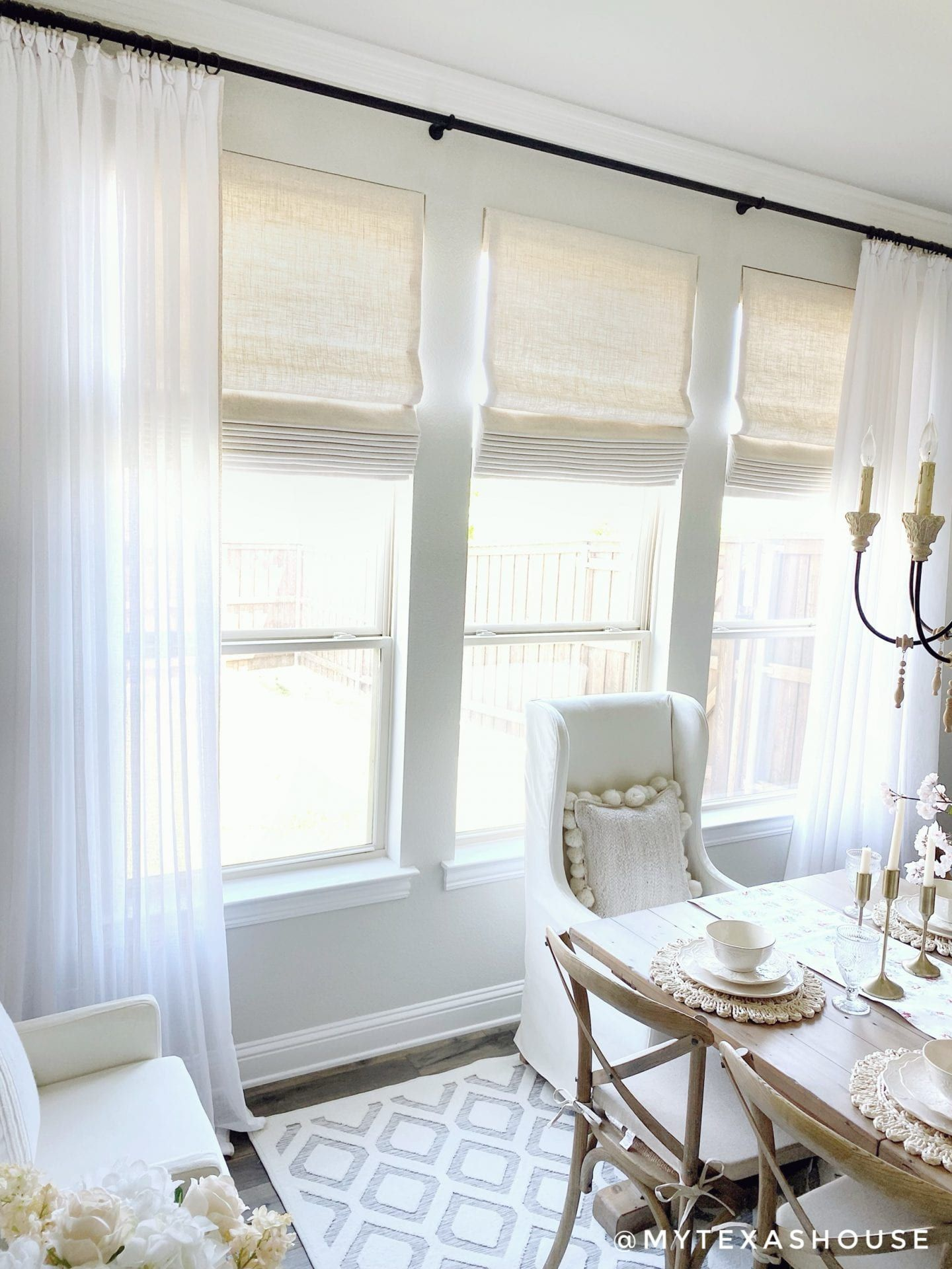 Sheer Crisp White Whipstitch Drapes Willowbloomhome In 2020 Roman Shades Living Room Roman Blinds Living Room Round Dining Room Sets