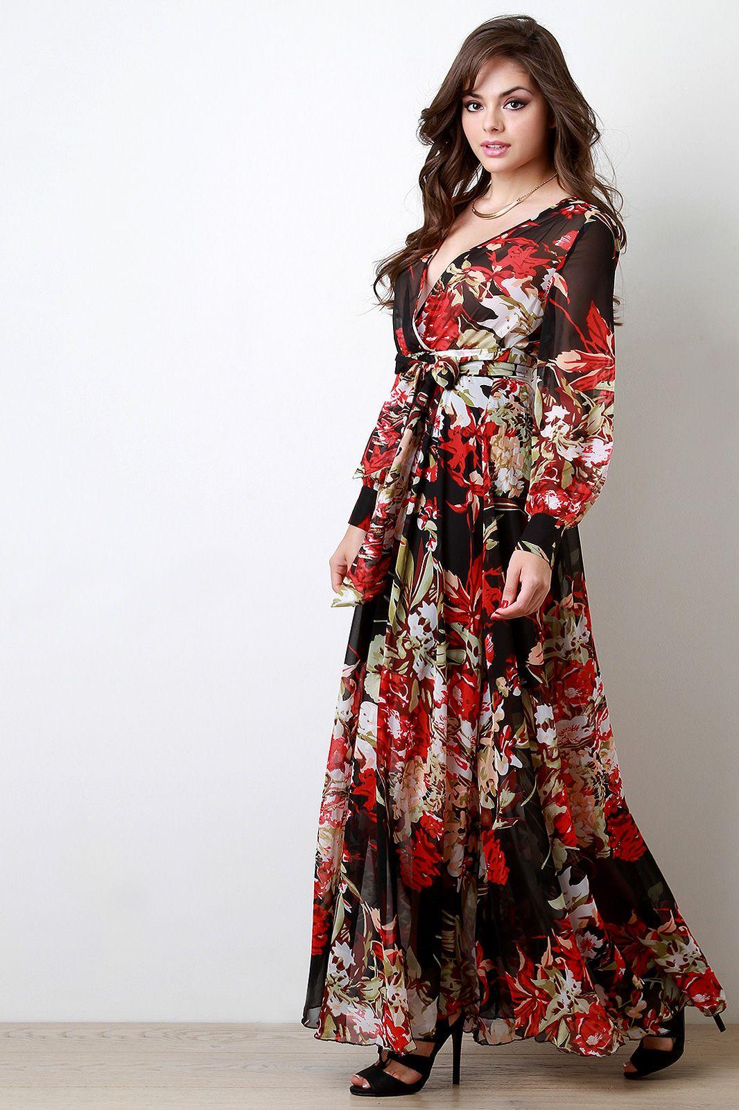 Chiffon Floral Print Surplice Maxi Dress Urbanog Printed Dress Outfit Floral Print Dress Outfit Spring Outfits [ 1600 x 1066 Pixel ]