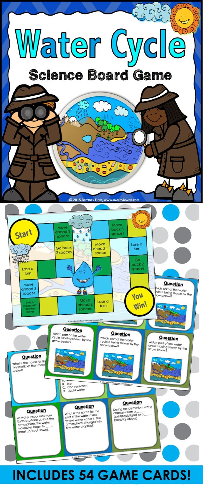 hight resolution of water cycle water cycle game contains 54 game cards and a game board to help students practice key vocabulary and concepts related to the water cycle