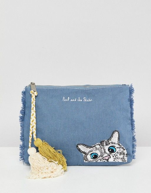 Paul Joe Sister Denim Cat Clutch Bag